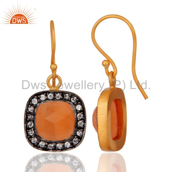Exporter 14K Yellow Gold Plated Peach Moonstone And Cubic Zirconia Drop Earrings
