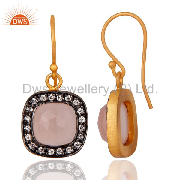 Exporter 14K Gold Plated Rose Chalcedony & Cubic Zirconia Ladies Fashion Earrings Jewelry