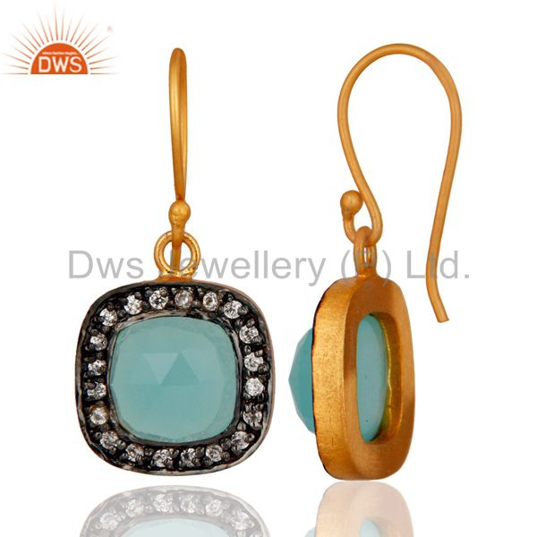 Exporter Blue Aqua Chalcedony And White Zircon 18K Yellow Gold Plated Fashion Earrings