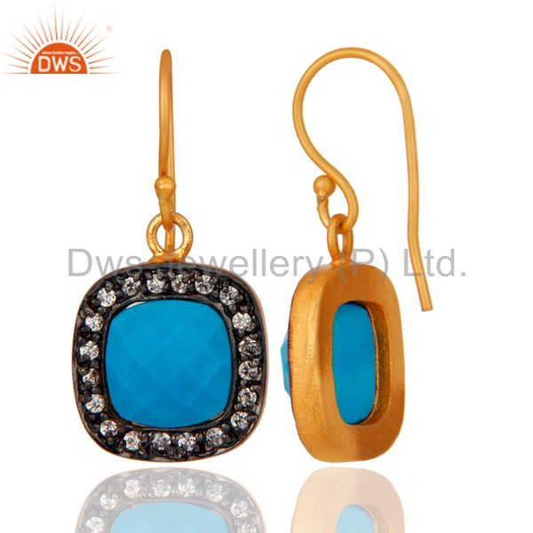 Exporter Turquoise And White Zircon 18K Yellow Gold Plated Brass Fashion Earrings