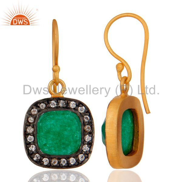 Exporter Natural Green Aventurine And White Zircon Gold Plated Fashion Earrings