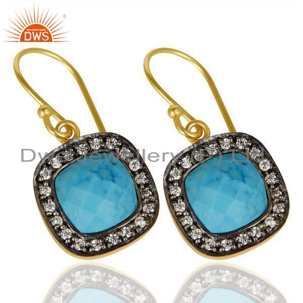 Exporter Turquoise White Cz Studded Square Shape Gold Plated 92.5 Sterling Silver earring