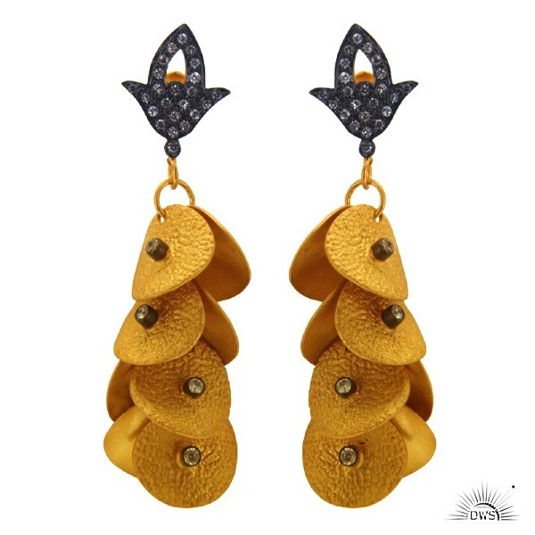 Exporter 22K Yellow Gold Plated Brass CZ Multi Petals Fashion Chandelier Earrings
