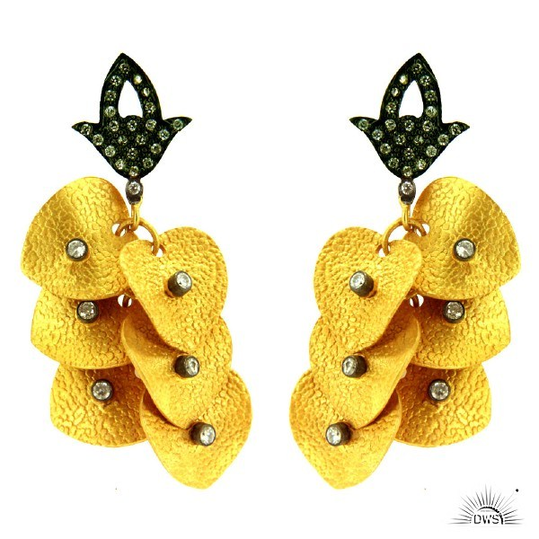 Exporter 22K Yellow Gold Plated Brass CZ Textured Petals Fashion Chandelier Earrings