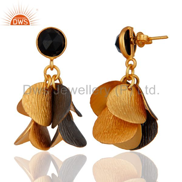 Exporter Handcrafted Onyx Black 18K Gold Plated Belly Dance Chandelier Earrings Jewelry