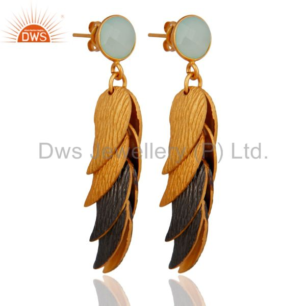 Exporter Aqua Blue Chalcedony Glass Brushed Finish Gold Plated Designer Womens Earrings