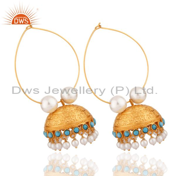 Exporter 22K Yellow Gold Plated Brass Turquoise & Pearl Designer Jhumka Fashion Earrings
