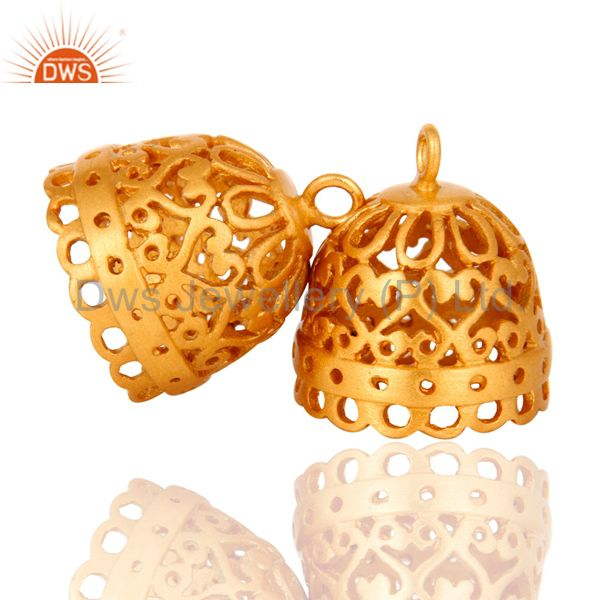 Exporter 18K Yellow Gold Plated Brass Jhumka Finding Earrings Jewelry