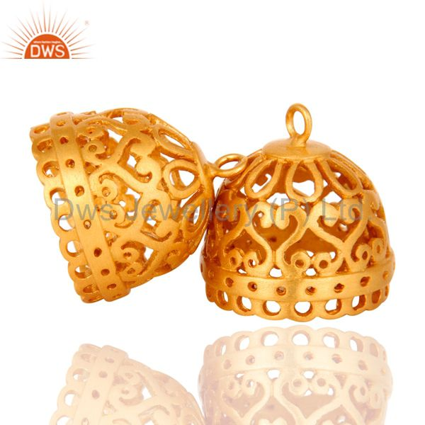 Exporter 22K Yellow Gold Plated Brass Jhumka Finding Earrings Jewelry