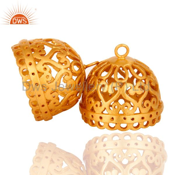 Exporter 24K Yellow Gold Plated Brass Jhumka Finding Earrings Jewelry