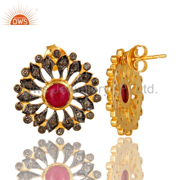 Exporter 18K Yellow Gold Sterling Silver Ruby And Pave Diamond Flower Stud Earrings