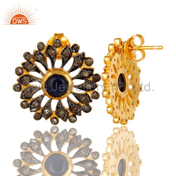 Exporter 18K Gold Sterling Silver Blue Sapphire And Pave Diamond Flower Stud Earrings