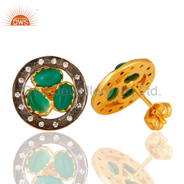 Exporter 18-Carat Yellow Gold-Plated Green Onyx Gemstone Stud Earrings With Pave CZ