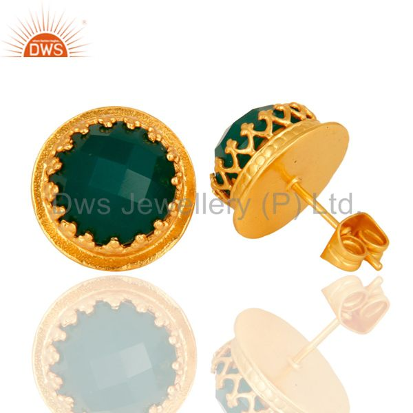 Exporter Designer Green Onyx Gemstone Stud Earrings With Yellow Gold Plated