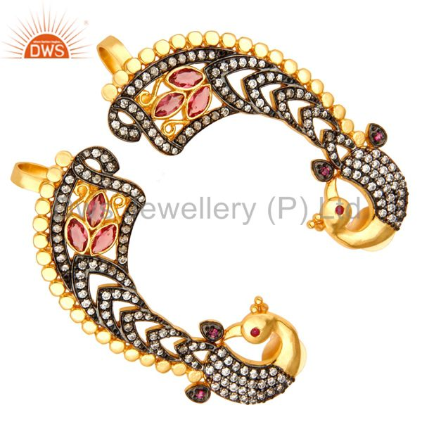 Exporter 14K Yellow Gold Plated Brass CZ And Pink Glass Peacock Fashion Ear Cuff Earrings