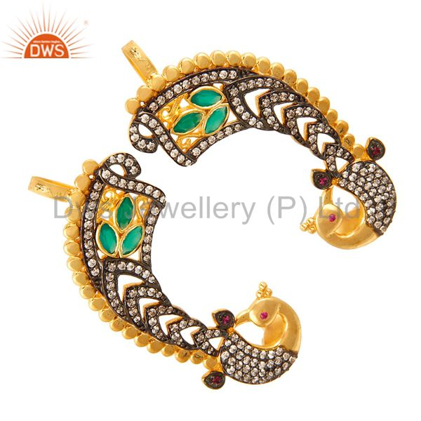 Exporter Designer 14K Yellow Gold Plated Green Onyx And CZ Fashion Ear Cuff Earrings