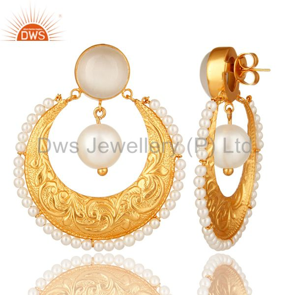 Exporter Handmade White Moonstone, Pearl & CZ Indian Ethnic Earrings In 14K Gold On Brass
