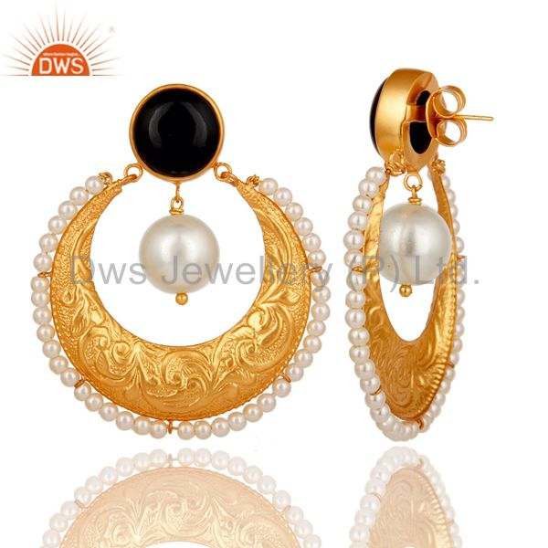 Exporter Handmade Black Onyx, Pearl & CZ Indian Ethnic Earrings In 14K Gold Over Brass