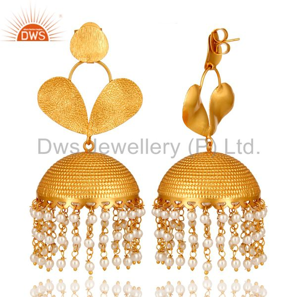 Exporter 22K Matte Yellow Gold Plated Brass Pearl Indian Designer Jhumka Earrings