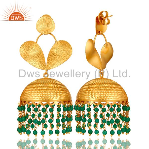 Exporter 18K Matte Yellow Gold Plated Green Onyx Indian Designer Jhumka Earrings