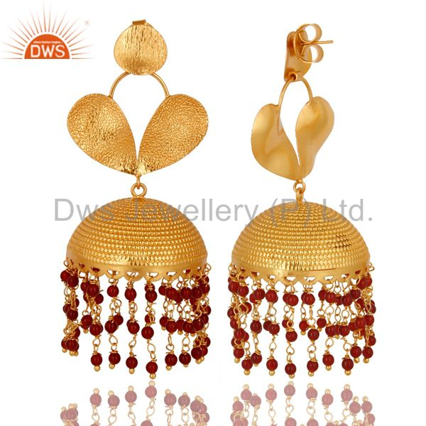 Exporter 22K Yellow Gold Plated Red Onyx Beads Jhumka Fashion Dangle Earrings