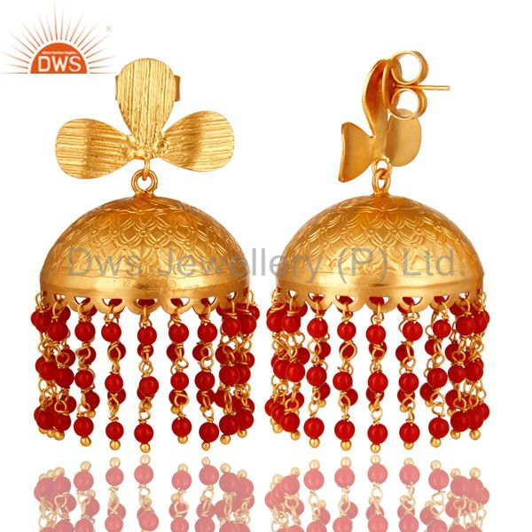 Exporter 22K Yellow Gold Plated Red Coral Gemstone Beaded Designer Jhumka Earrings