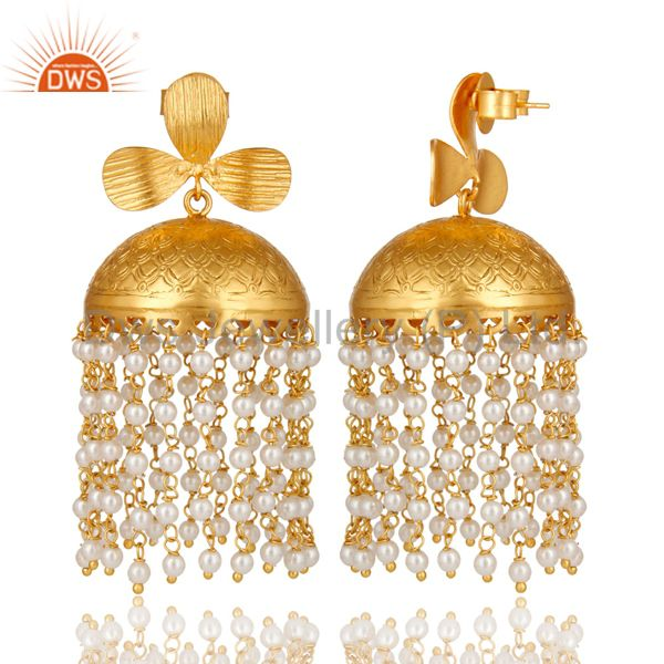 Exporter 22K Yellow Gold Plated Brass Pearl Beaded Indian Traditional Jhumka Earrings