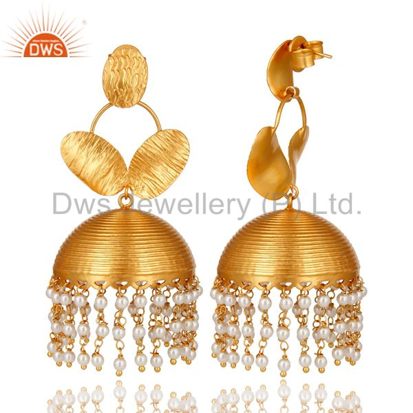 Exporter Designer 22K Yellow Gold Plated Brass Pearl Beads Jhumka Chandelier Earrings