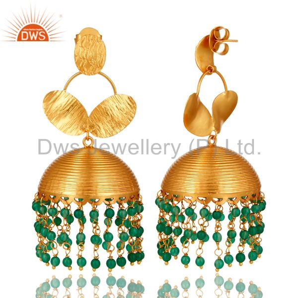 Exporter 22K Yellow Gold Plated Green Onyx Beaded Indian Fashion Jhumka Earrings