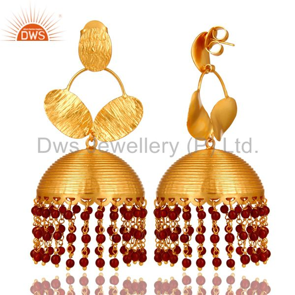 Exporter 22K Yellow Gold Plated Red Onyx Gemstone Beads Fashion Jhumka Earrings