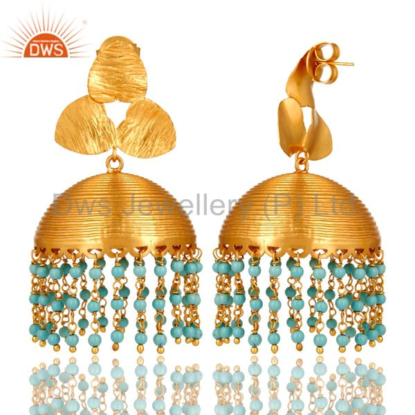 Exporter 22K Yellow Gold Plated Brass Turquoise South Indian Fashion Jhumka Earrings