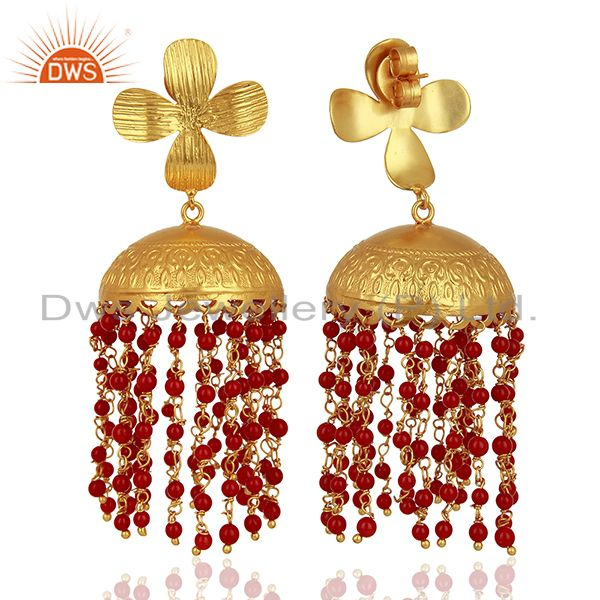 Exporter 22K Yellow Gold Plated Brass Red Coral Beaded Chandelier Jhumka Earrings
