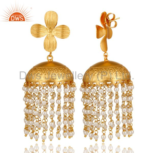 Exporter 22K Yellow Gold Plated South Indian Fashion Jhumka Earrings With Pearl Beads