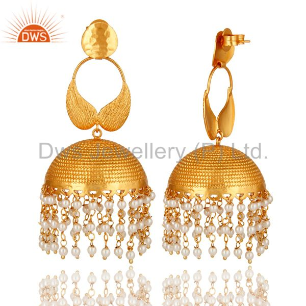 Exporter 14K Gold Plated Matte Finish Pearl Beads Indian Ethnic Jhumka Fashion Earrings