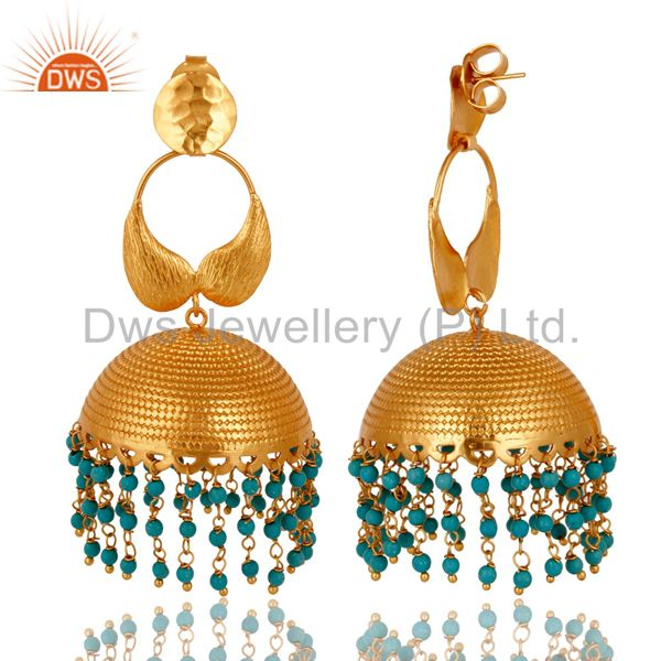 Exporter 22K Yellow Gold Plated Turquoise Designer Indian Jhumka Fashion Earrings