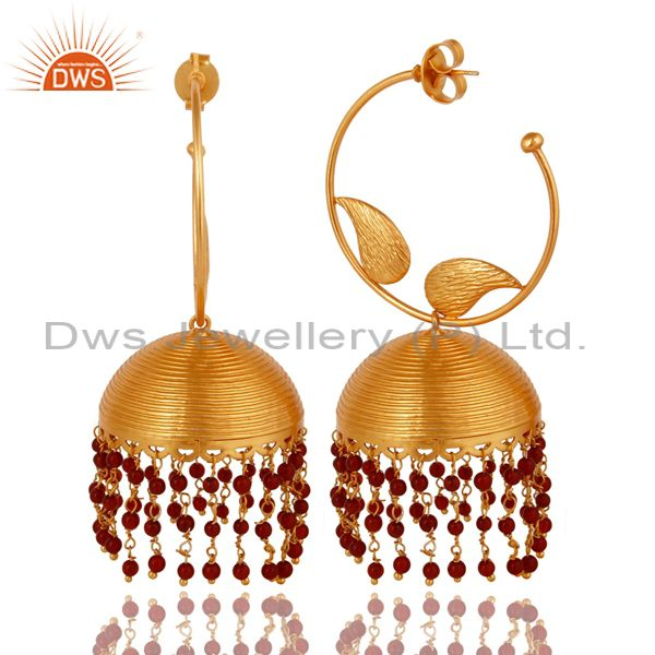 Exporter 18K Gold Plated Indian Fashion Jhumka Earringsin brass With Red Onyx