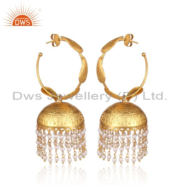 Exporter 24K Yellow Gold Plated White Pearl Traditional Fashion Jhumka Earrings