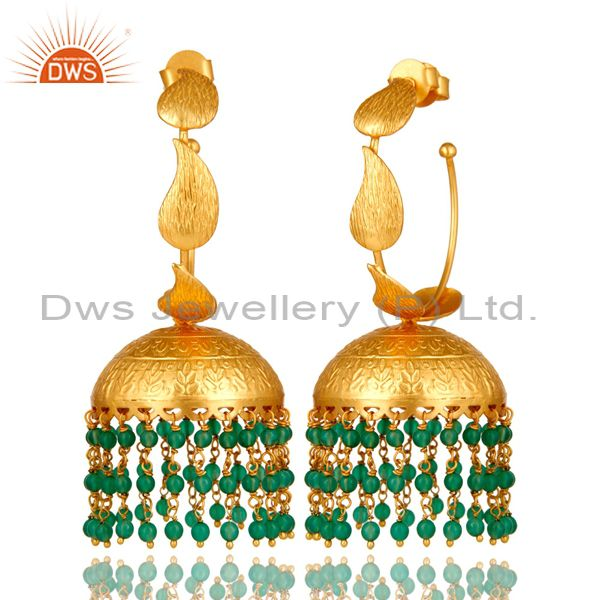 Exporter 24K Yellow Gold Plated Brass Green Onyx Traditional Fashion Jhumka Earrings