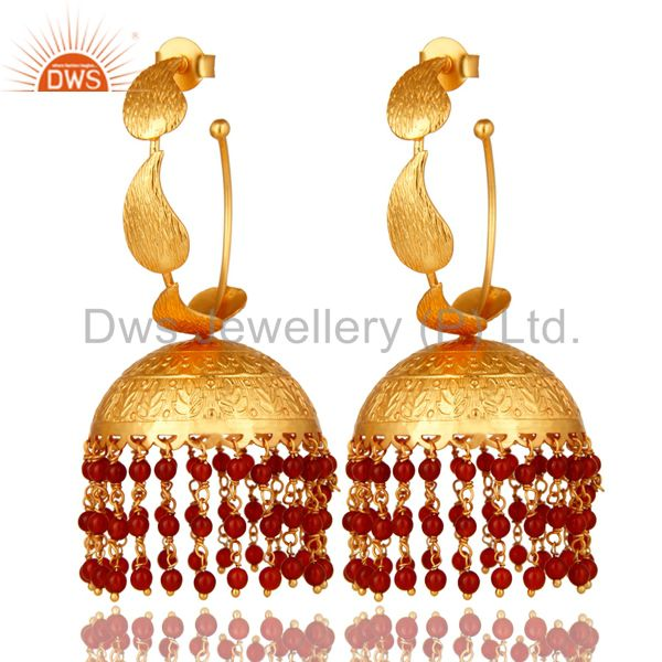 Exporter 24K Yellow Gold Plated Red Onyx Indian Traditional Fashion Jhumka Earrings