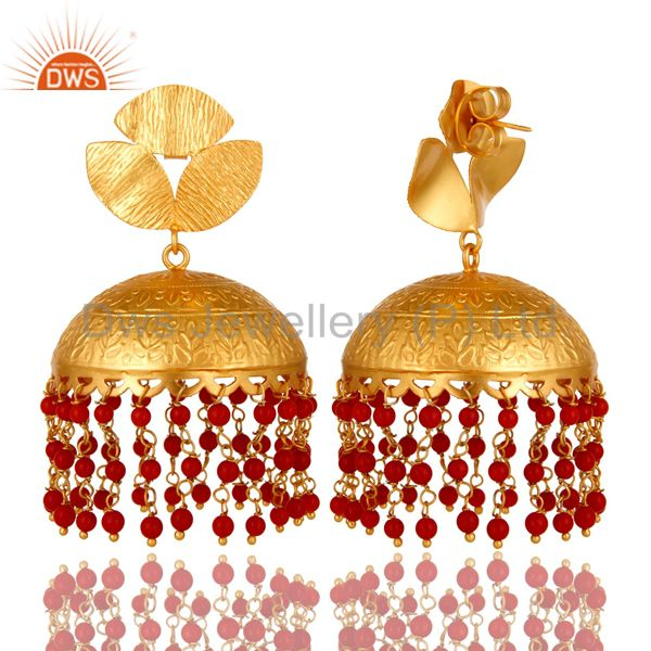 Exporter 22K Yellow Gold Plated Brass Red Coral Beads Ethnic Designer Jhumka Earrings