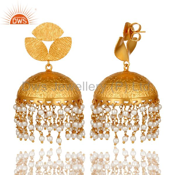 Exporter 22K Yellow Gold Plated Matte Finished Pearl Beaded Indian Jhumka Earrings
