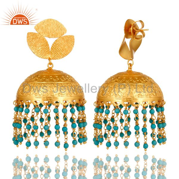 Exporter 22K Matte Yellow Gold Plated Turquoise Floral Engraved Indian Jhumka Earrings