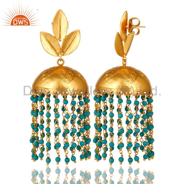 Exporter 22K Yellow Gold Plated Turquoise Designer Indian Fashion Jhumka Brass Earrings