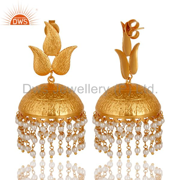 Exporter 24K Yellow Gold Plated Pearl indian Traditional Fashion Jhumka Earrings