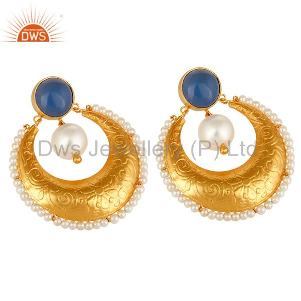 Exporter Blue Chalcedony Gemstone And Pearl Ethnic Designer Earrings In 14K Gold On Brass