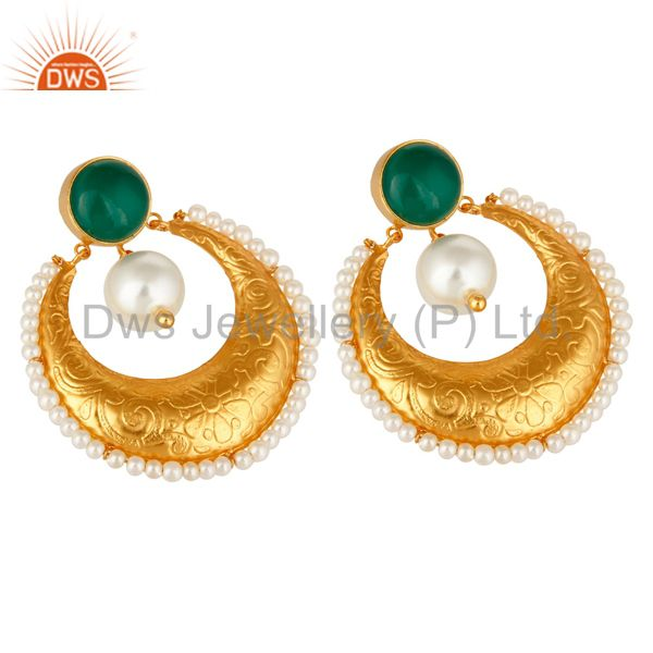Exporter Green Onyx Gemstone And Pearl Ethnic Designer Earrings Made In 14K Gold On Brass
