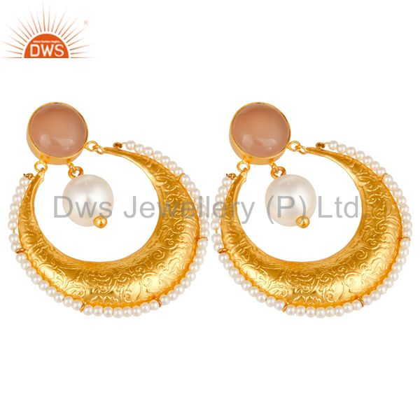 Exporter Chalcedony Gemstone And Pearl Ethnic Designer Earrings Made In 14K Gold On Brass