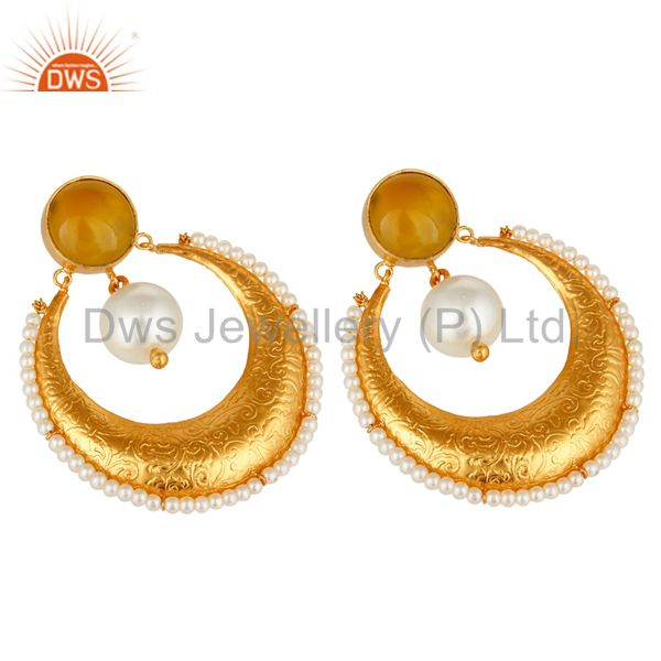 Exporter Yellow Moonstone And Pearl Ethnic Fashion Earrings In 14K Gold Over Brass