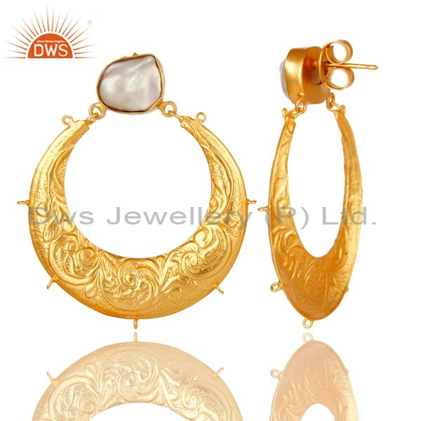 Exporter Natural Pearl 18K Gold Plated Brass Floral Engraved Designer Finding