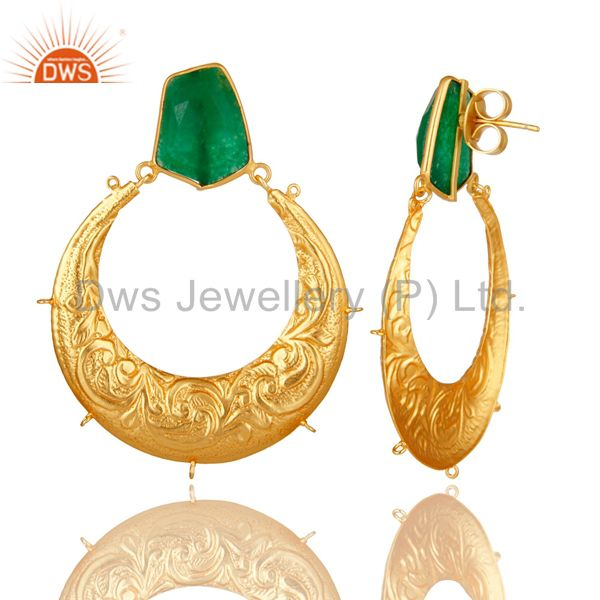Exporter Handmade Green Aventurine Designer Dangle Earrings Made In 18K Gold Over Brass